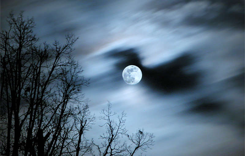 Full moon in winter season